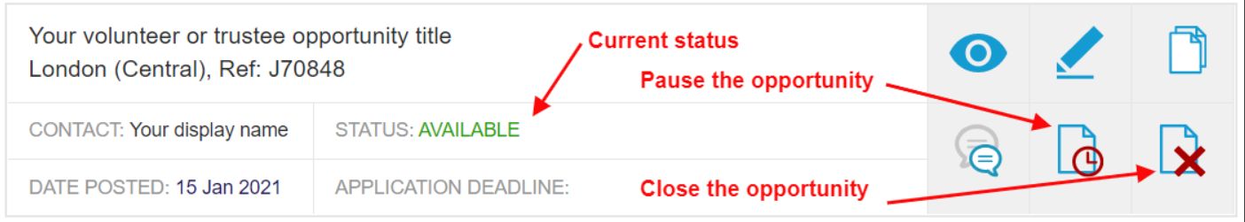 dashboard view of pause and close buttons