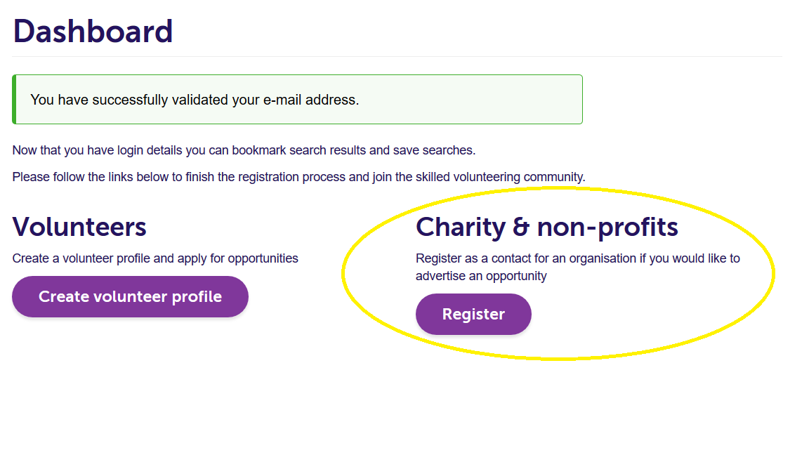 Select the register as a charity contact button