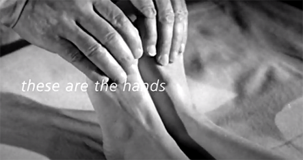 These are the Hands: hands touching feet, black and white image